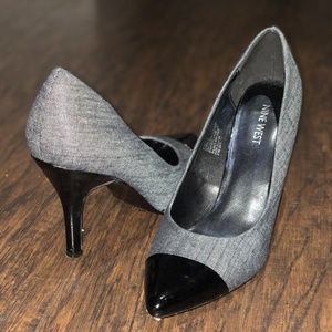 Nine West Grey Denim Black Pointy Toe Heels